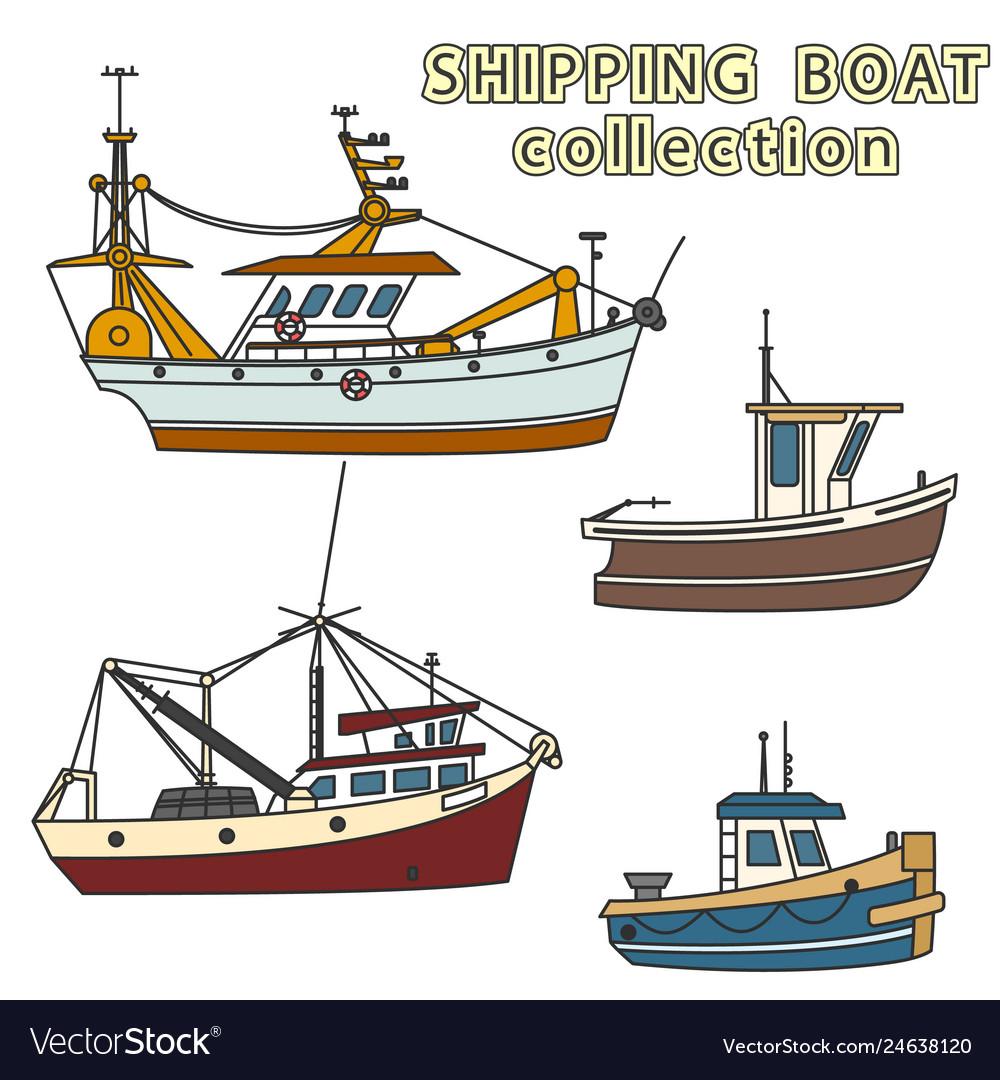 Set of fishing vessel in sea