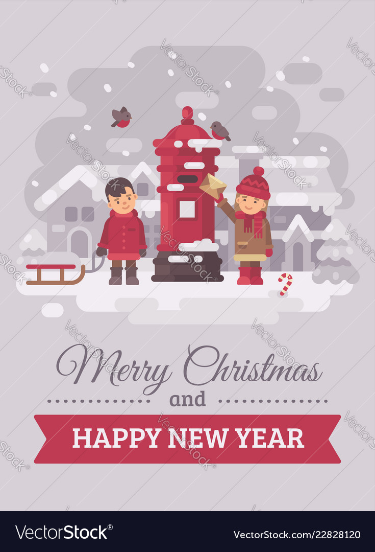 Two cute children sending a letter to santa claus Vector Image