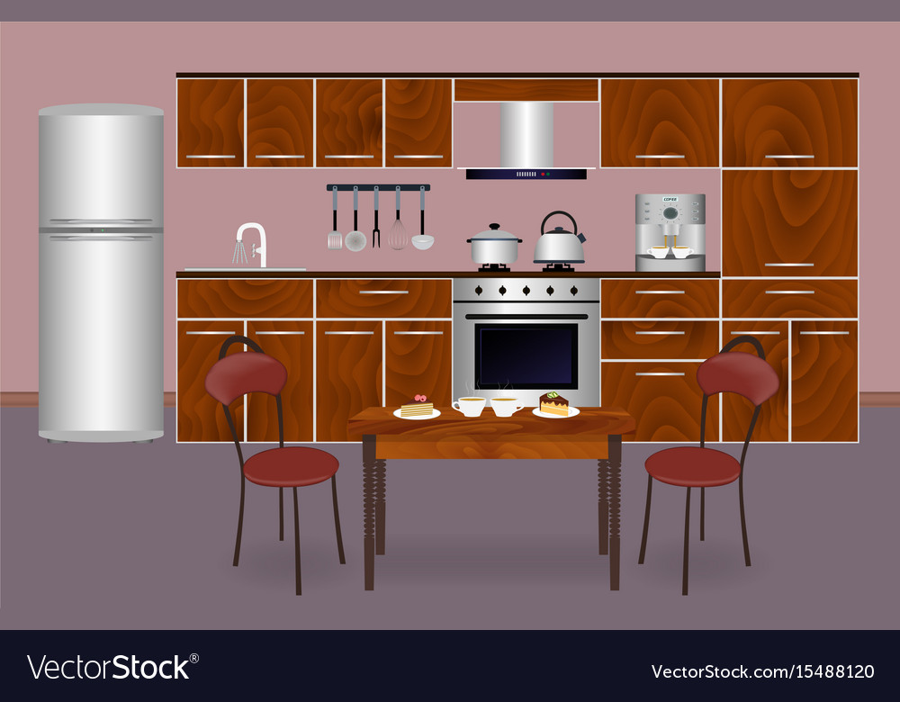 Wooden Kitchen Interior Banner For Your Web Vector Image