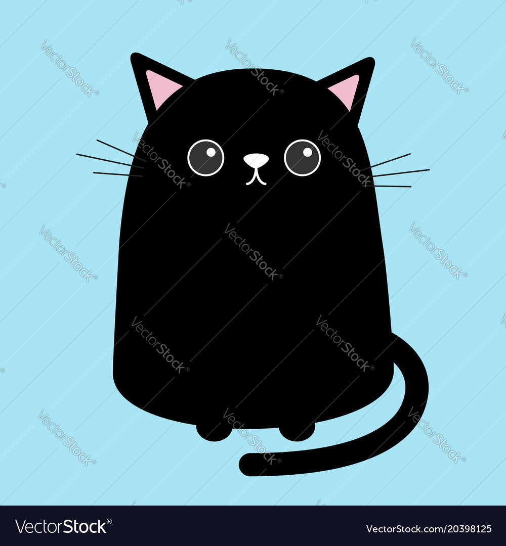 Image of: Draw Vectorstock Black Cute Cat Sitting Kitten Cartoon Kitty Vector Image