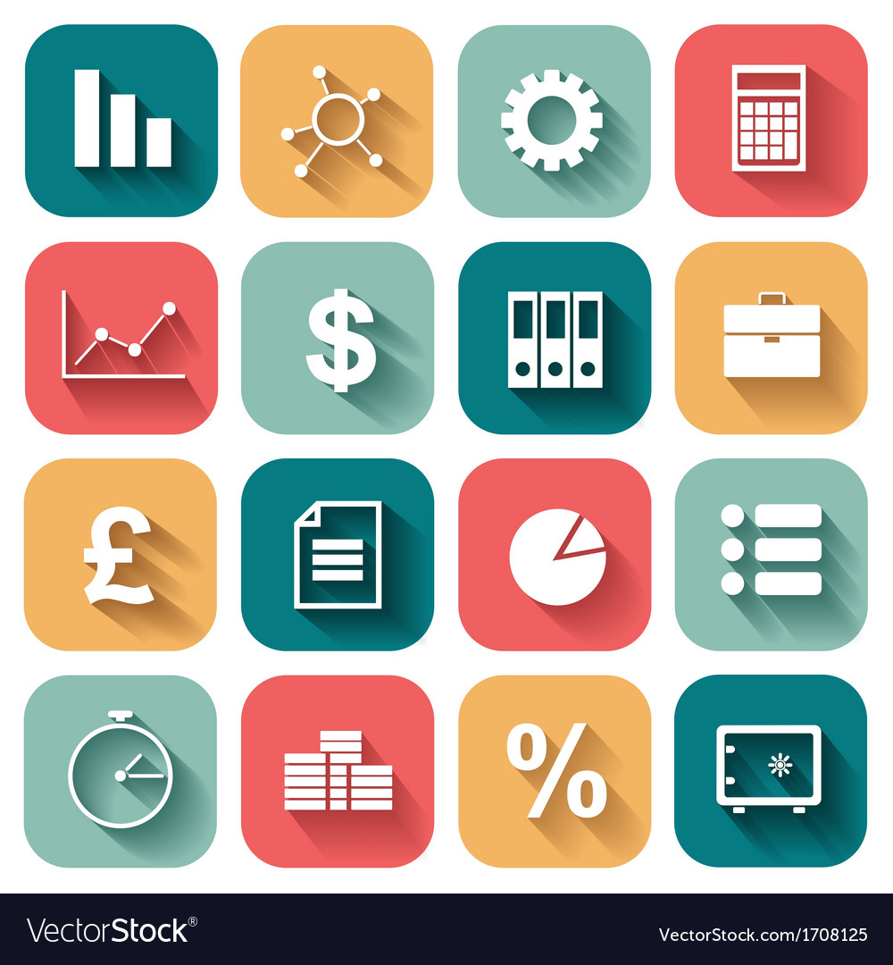 Business Flat icons set for Web and Mobile vector image