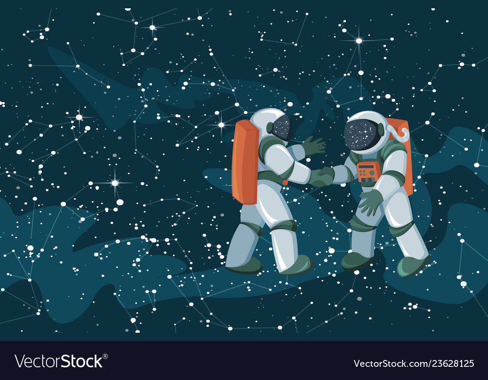 Cartoon astronauts meeting and handshake on space