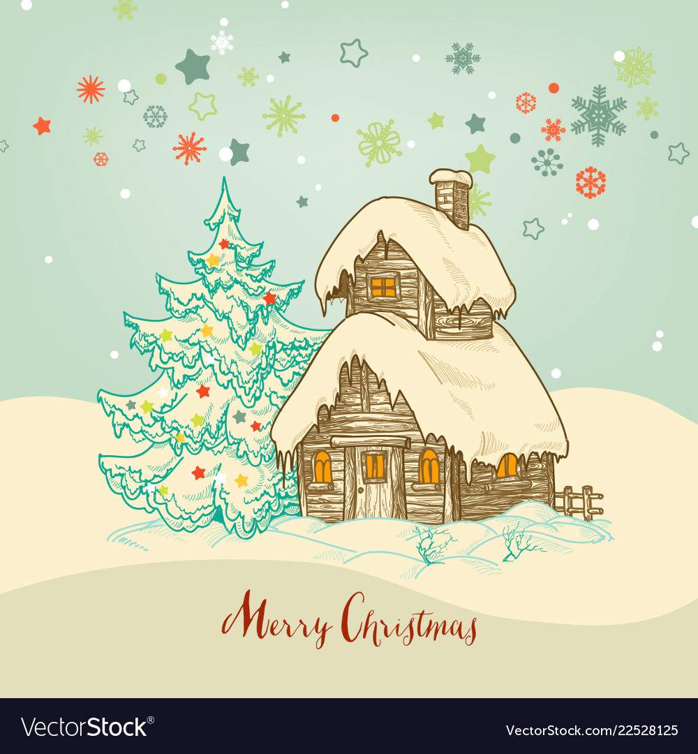 Christmas idyllic card small house in the snow
