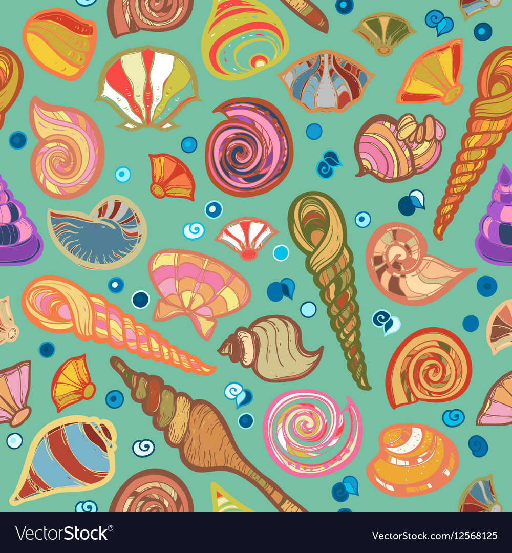 Colorful sketched kid seamless seashell pattern