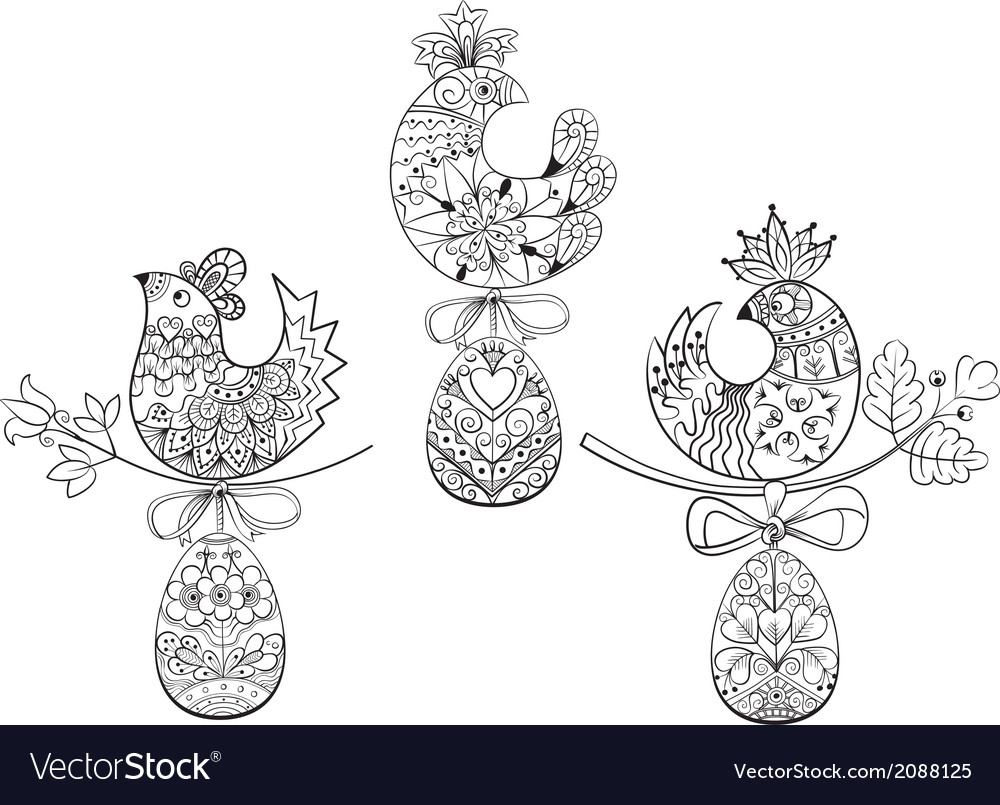 Coloring pages with symbols of Easter chick egg