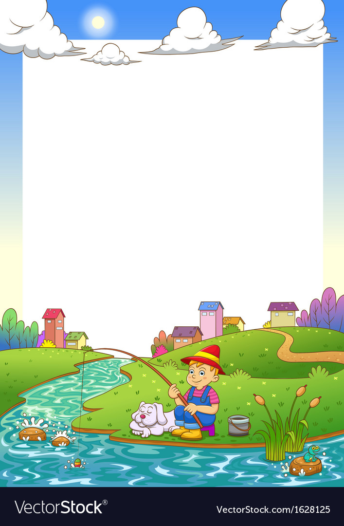 Fishing boy frame vector image