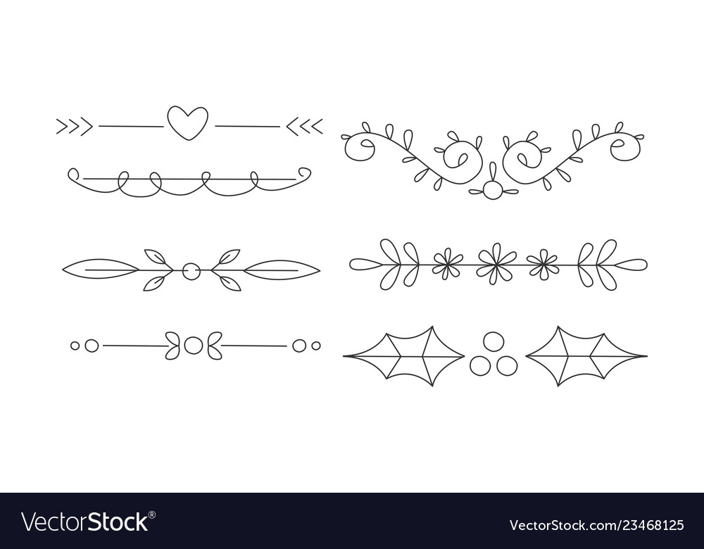 Hand drawn line borders set decorative design
