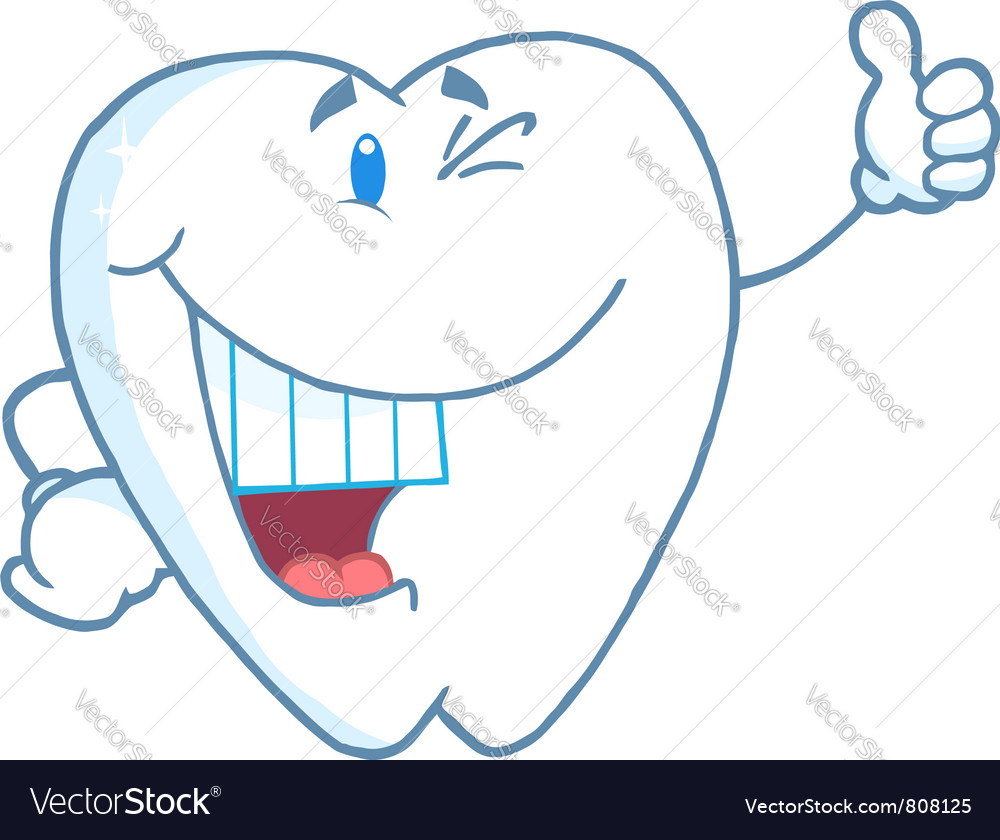 Happy Smiling Tooth Cartoon Mascot Character