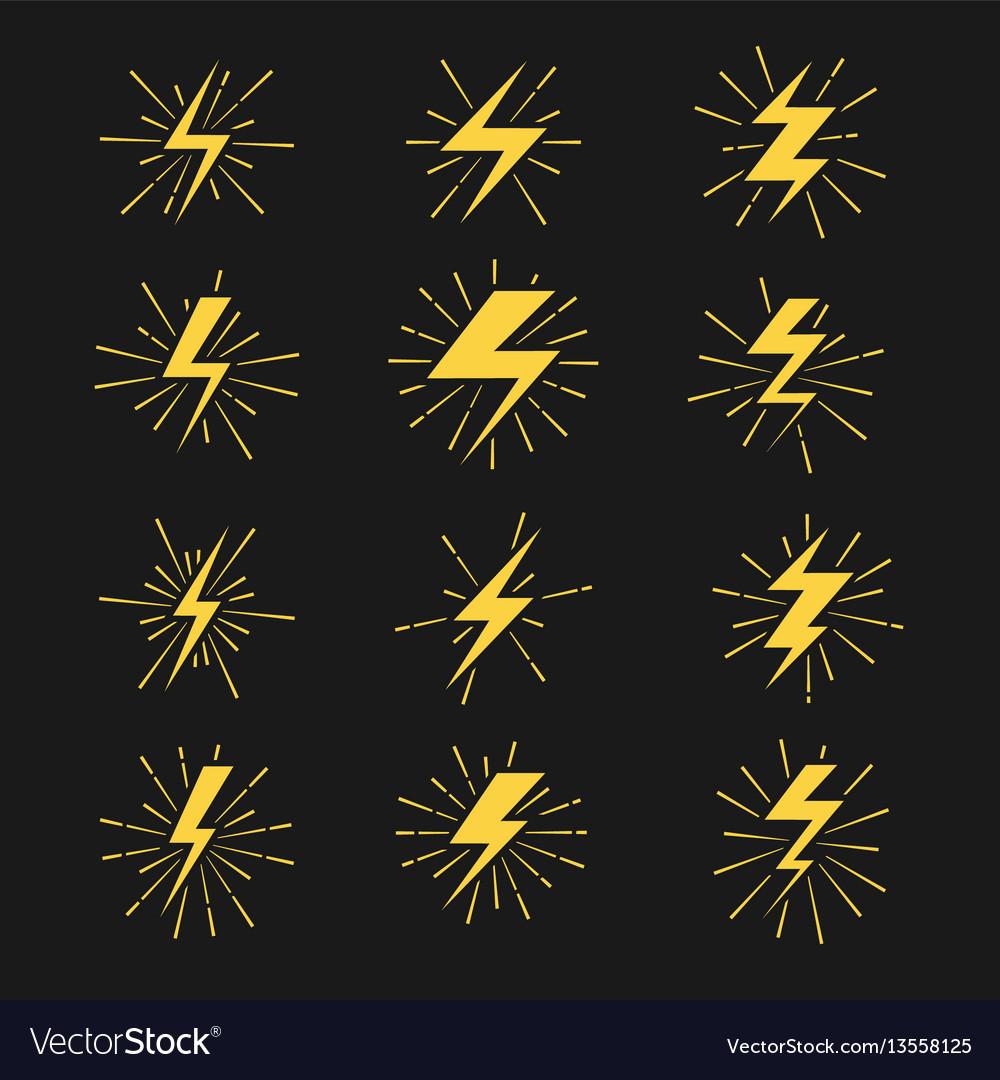 Lightning bolts icons set