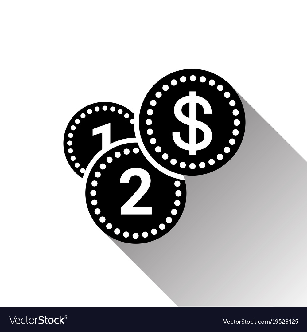Silhouette black dollar coins stack icon with long