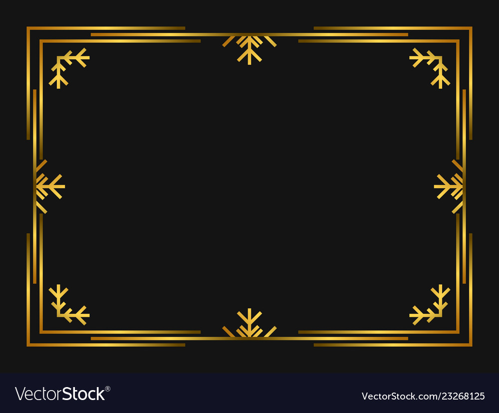 Winter art deco frame golden color christmas