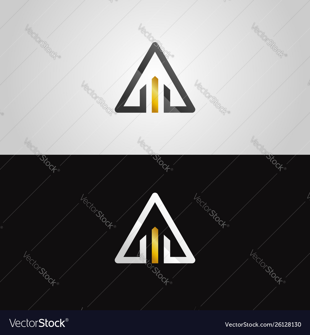 Abstract gold-silver property triangle logo