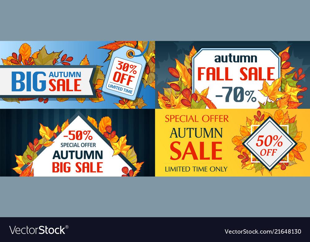 Autumn sale fall season concept set cartoon style