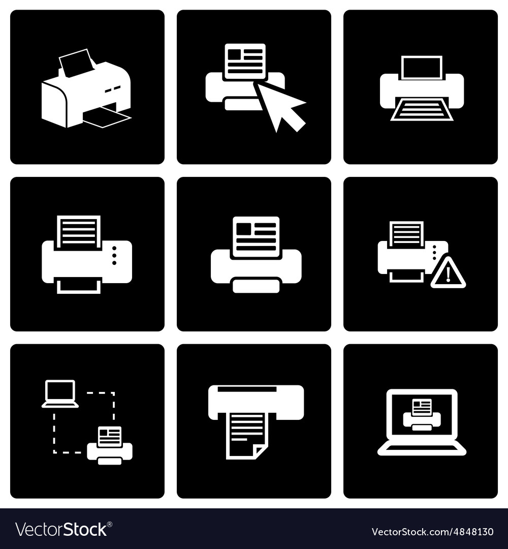 Black printer icon set
