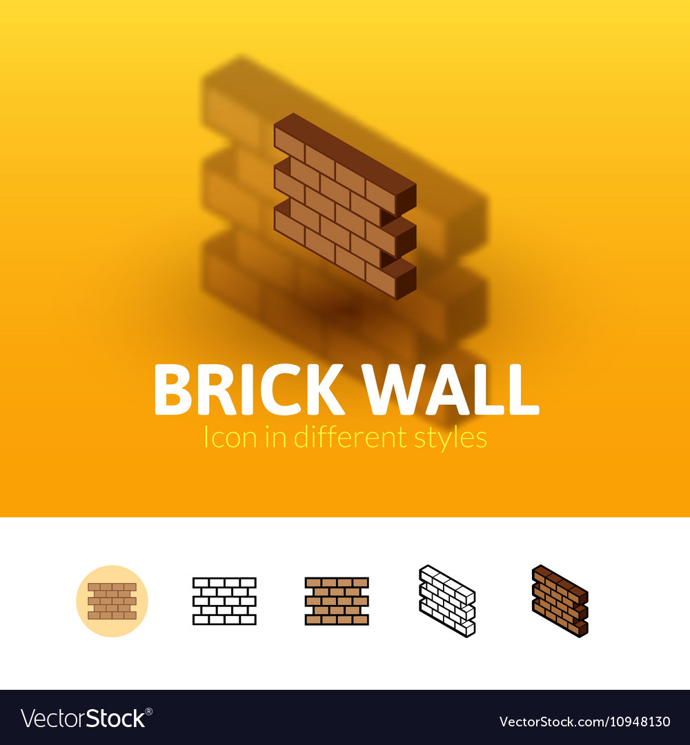 Brick wall icon in different style