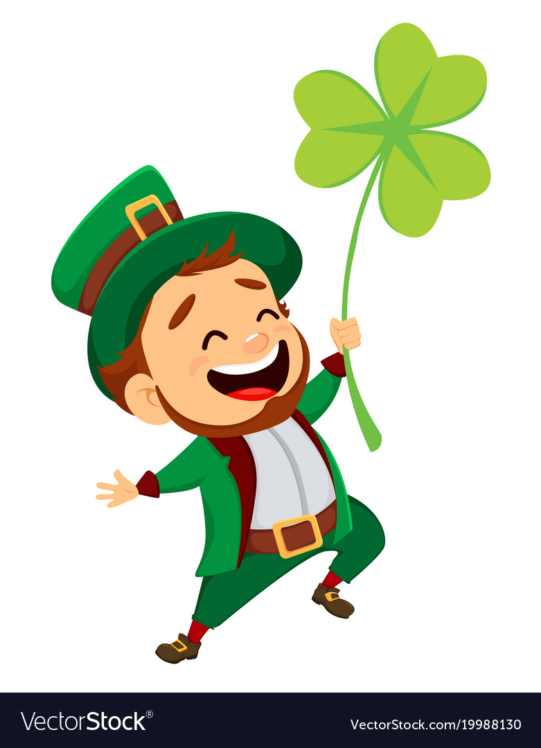 Cartoon funny leprechaun with clover royalty free vector cartoon funny leprechaun with clover vector image altavistaventures Gallery