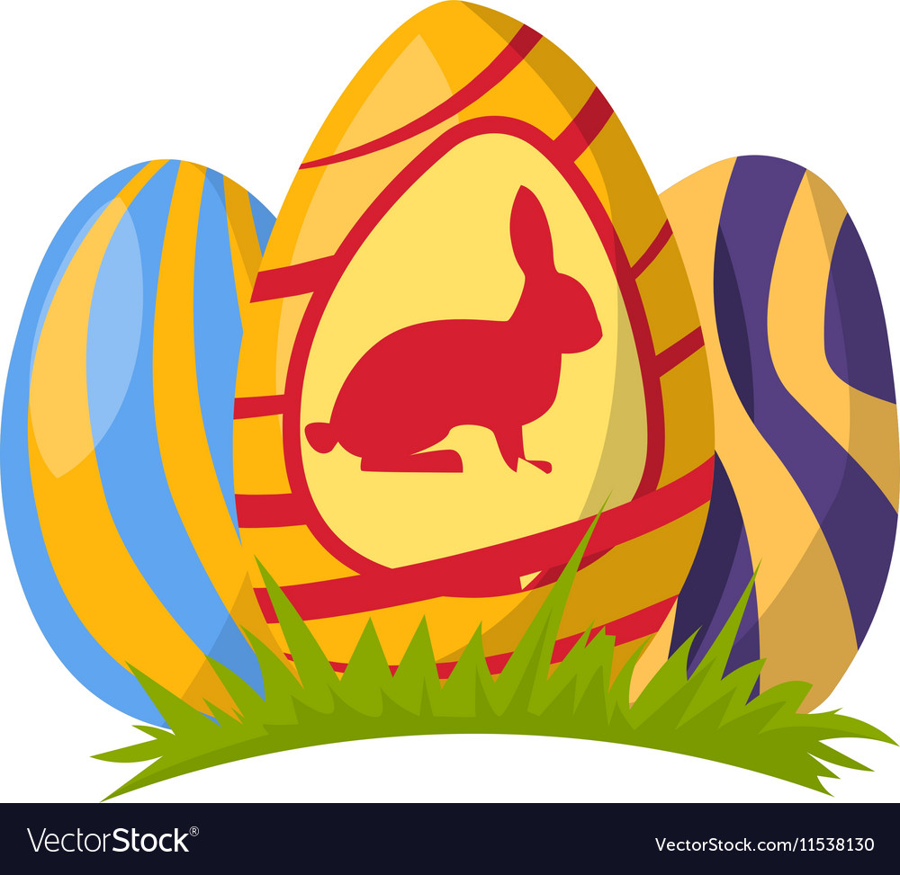 Color easter egg cartoon spring vector image
