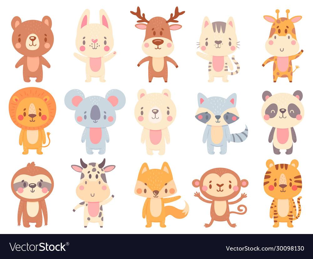 Cute cartoon animals waving giraffe funny farm