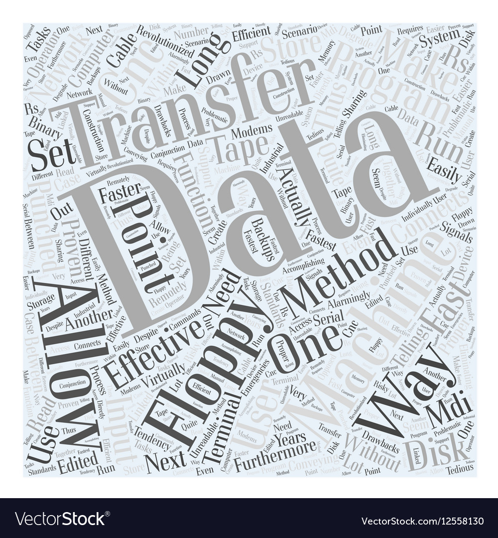 Data Transfer Methods of CNC Word Cloud Concept vector image