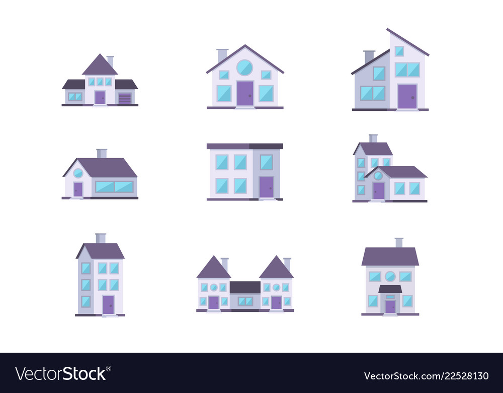 Different buildings houses residential facade set