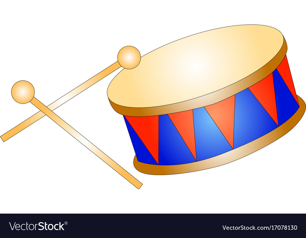 Drum toy kid isolated icon vector image