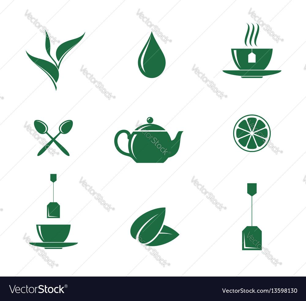 Green tea icon set