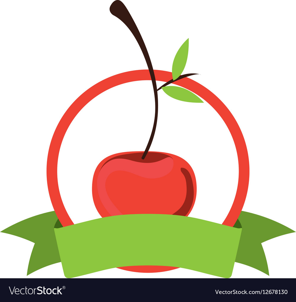 Label silhouette colorful with cherry vector image