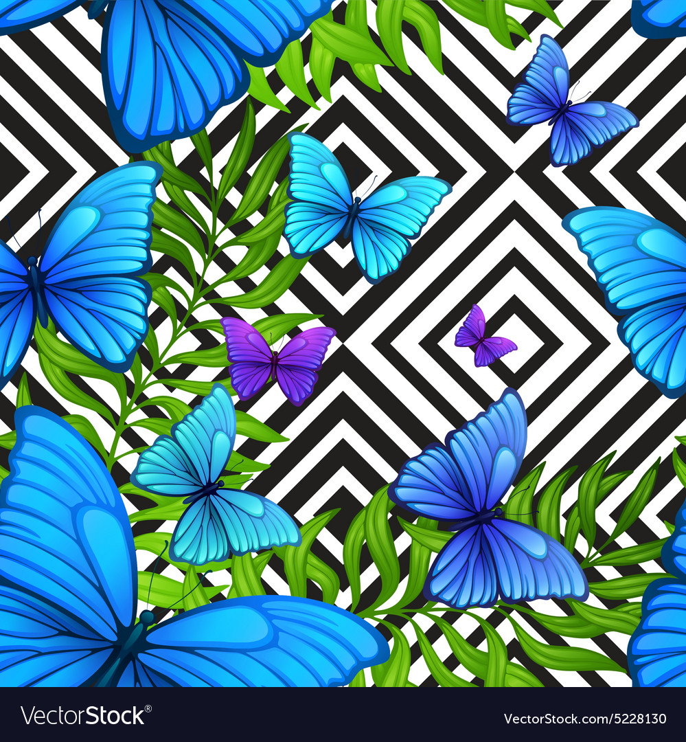 Palm leaves tropical pattern with blue