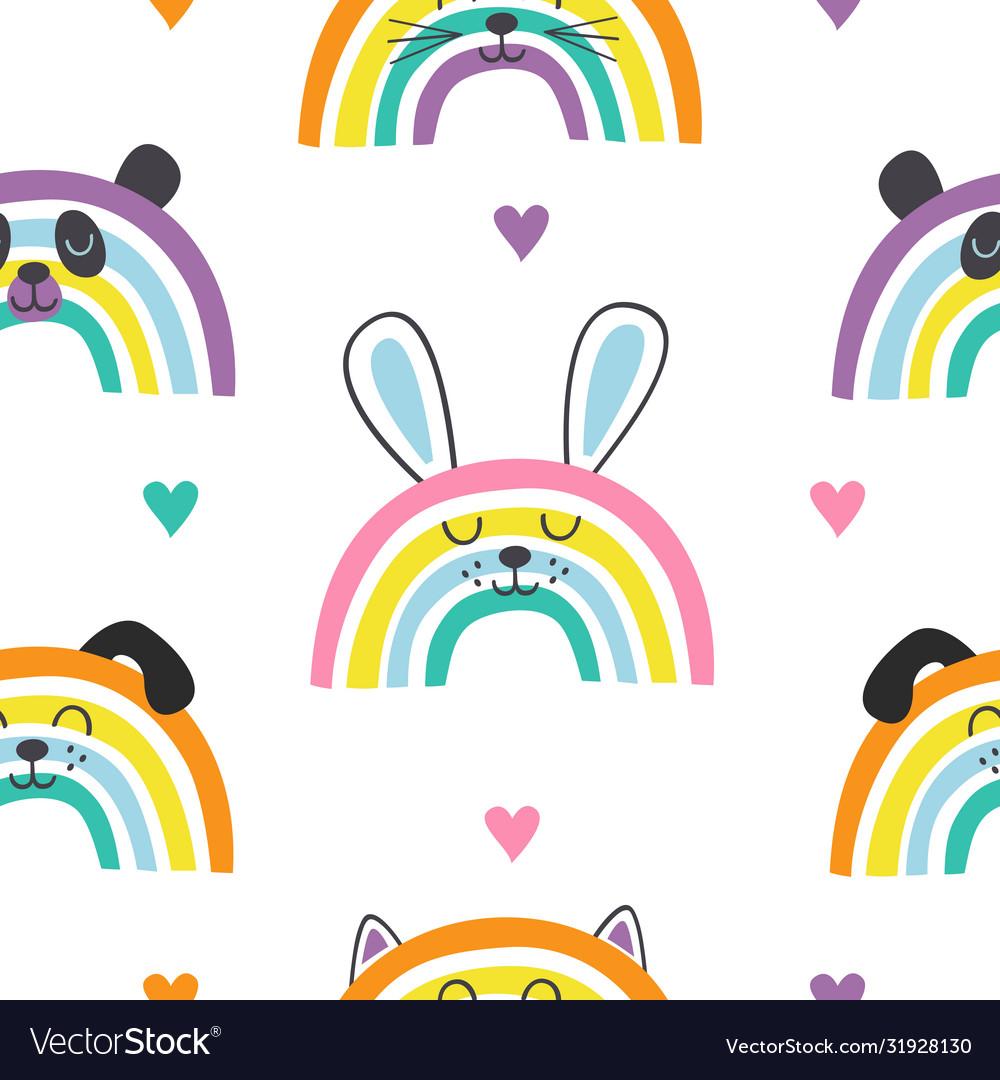 Seamless pattern with baanimals rainbows