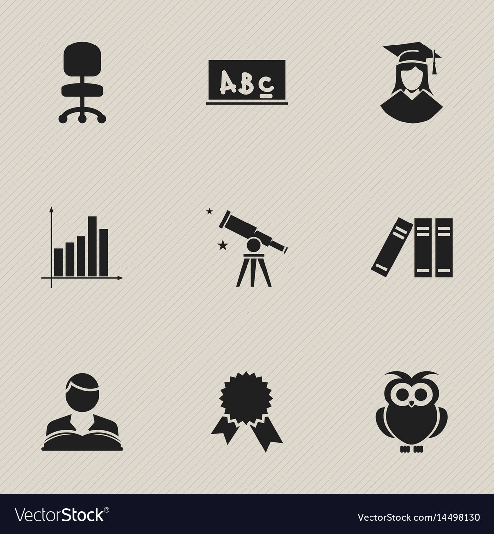 Set of 9 editable graduation icons includes