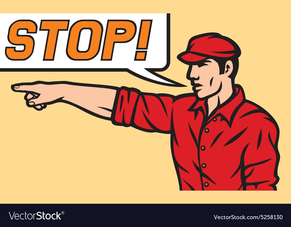 Stop comic book style vector image