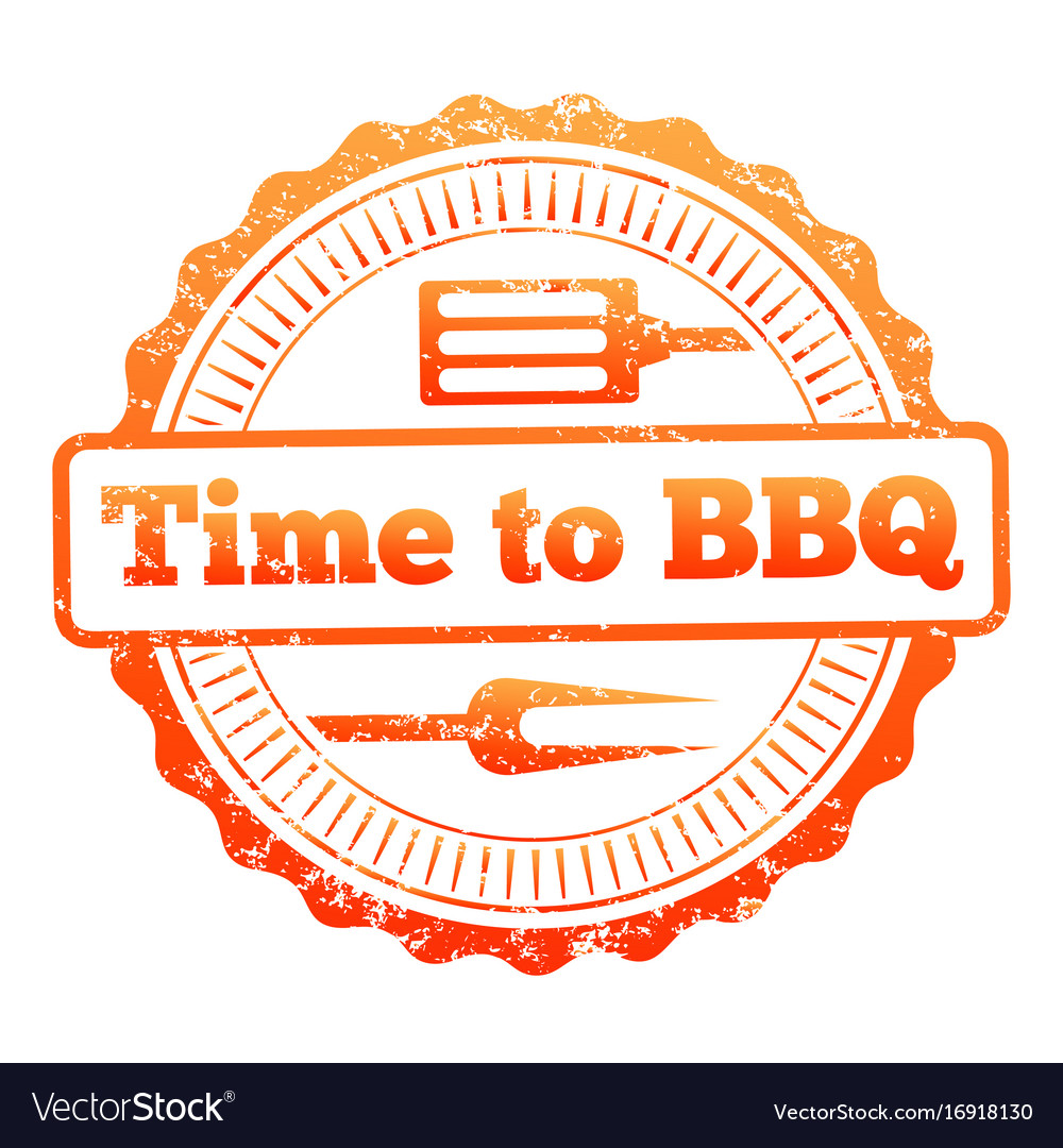 Time to bbq colorful label design