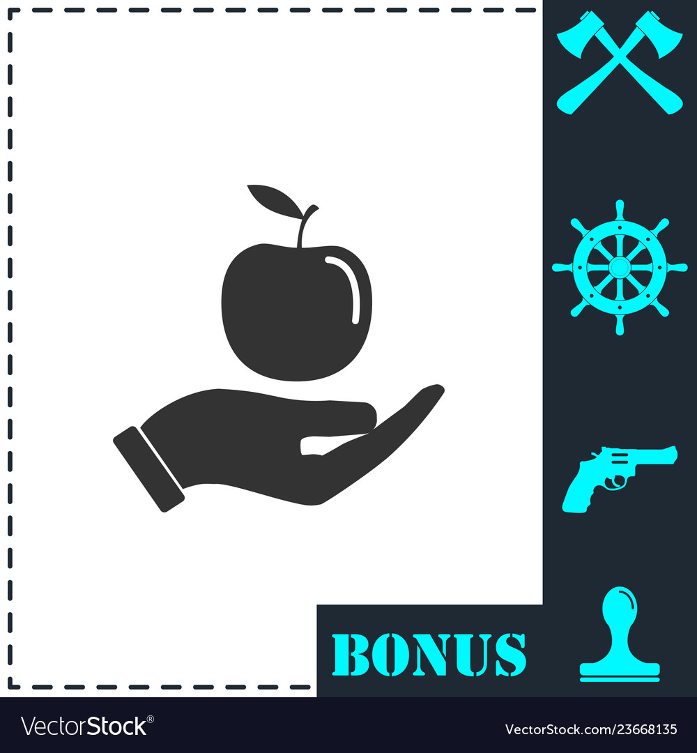 Apple in hand icon flat