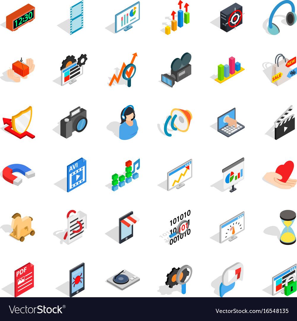 Computer design icons set isometric style