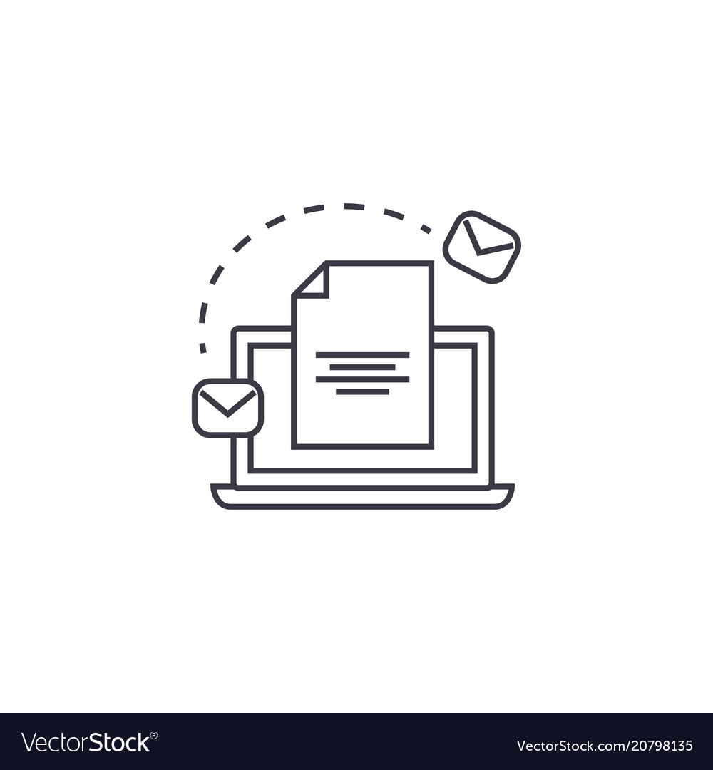 Email marketing system line icon sign