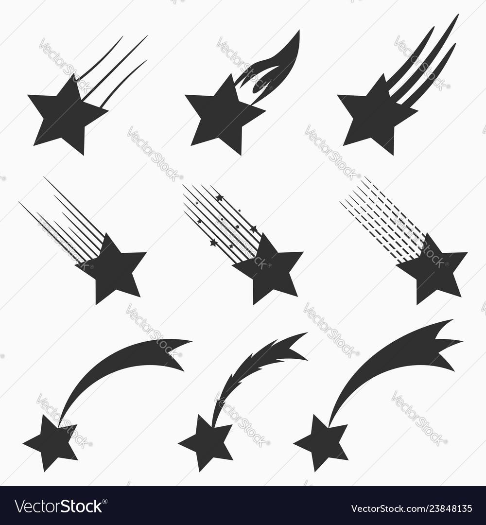 Falling stars icons set