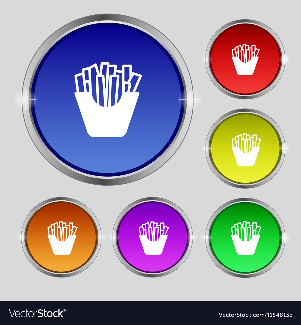 Fry icon sign Round symbol on bright colourful vector image