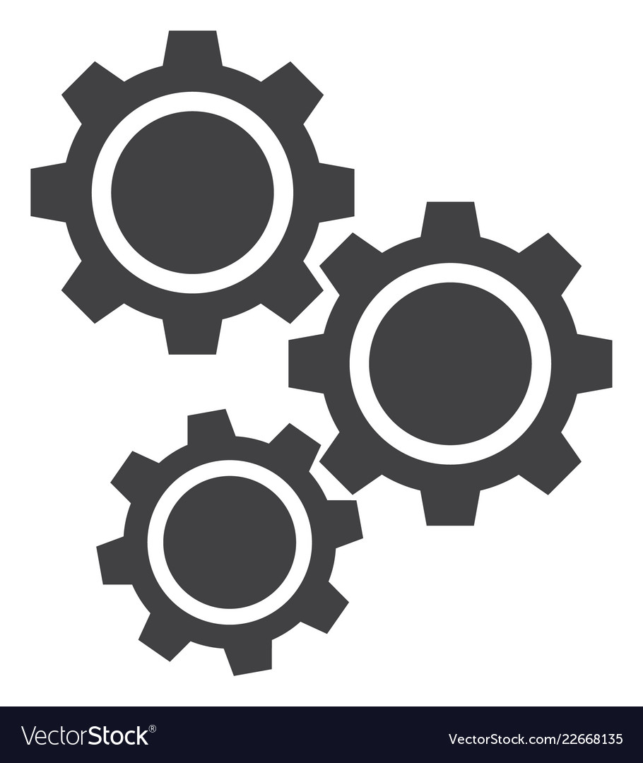 Gears flat icon symbol Royalty Free Vector Image