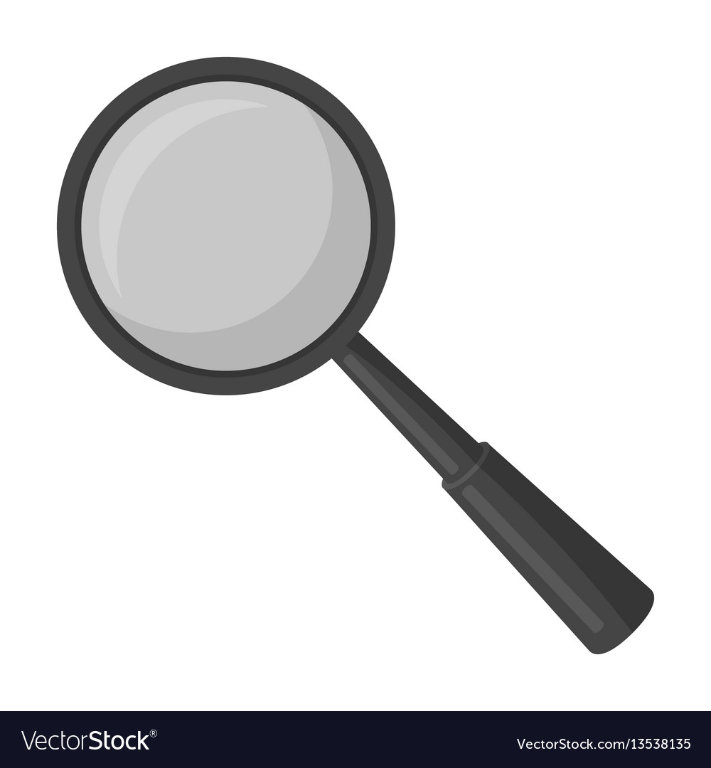 Magnifying glass icon in monochrome style isolated