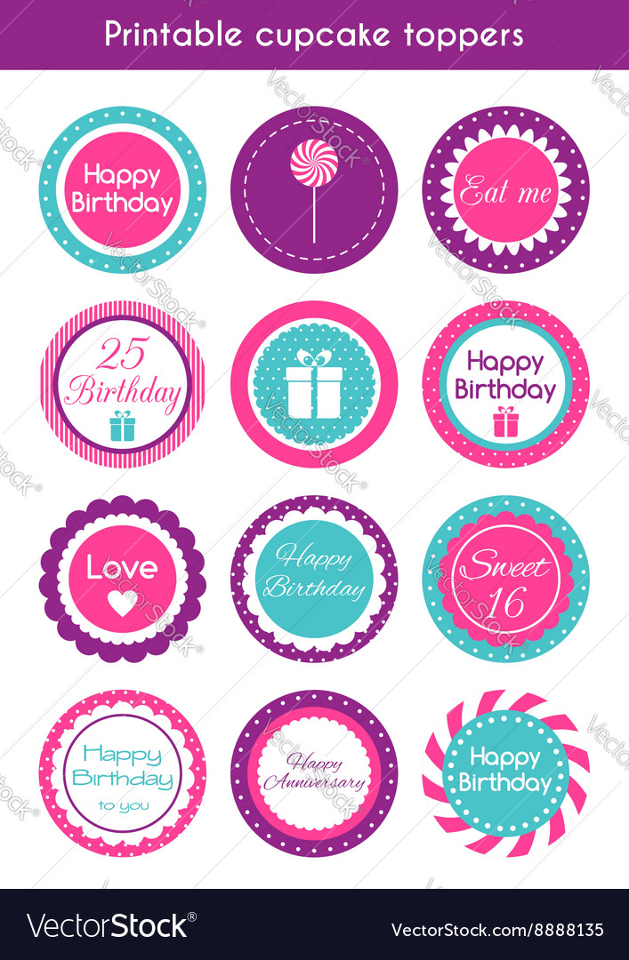 Printable Cupcake Toppers Vector Image
