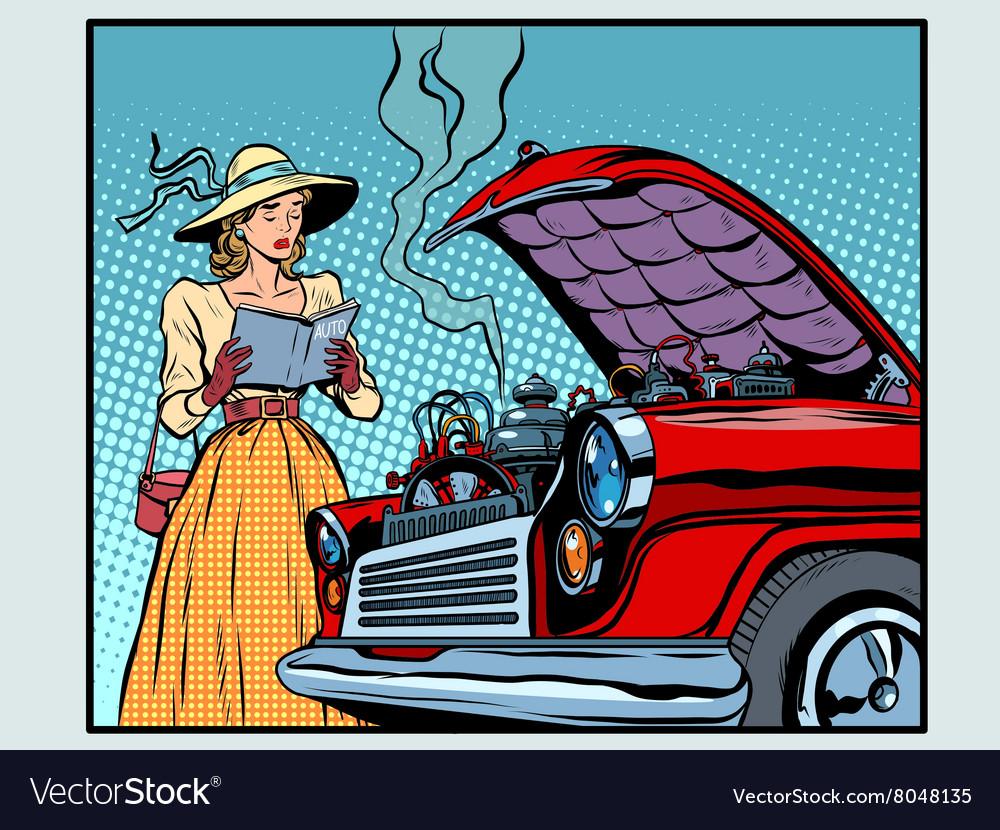 Sad woman driver near a broken car vector image