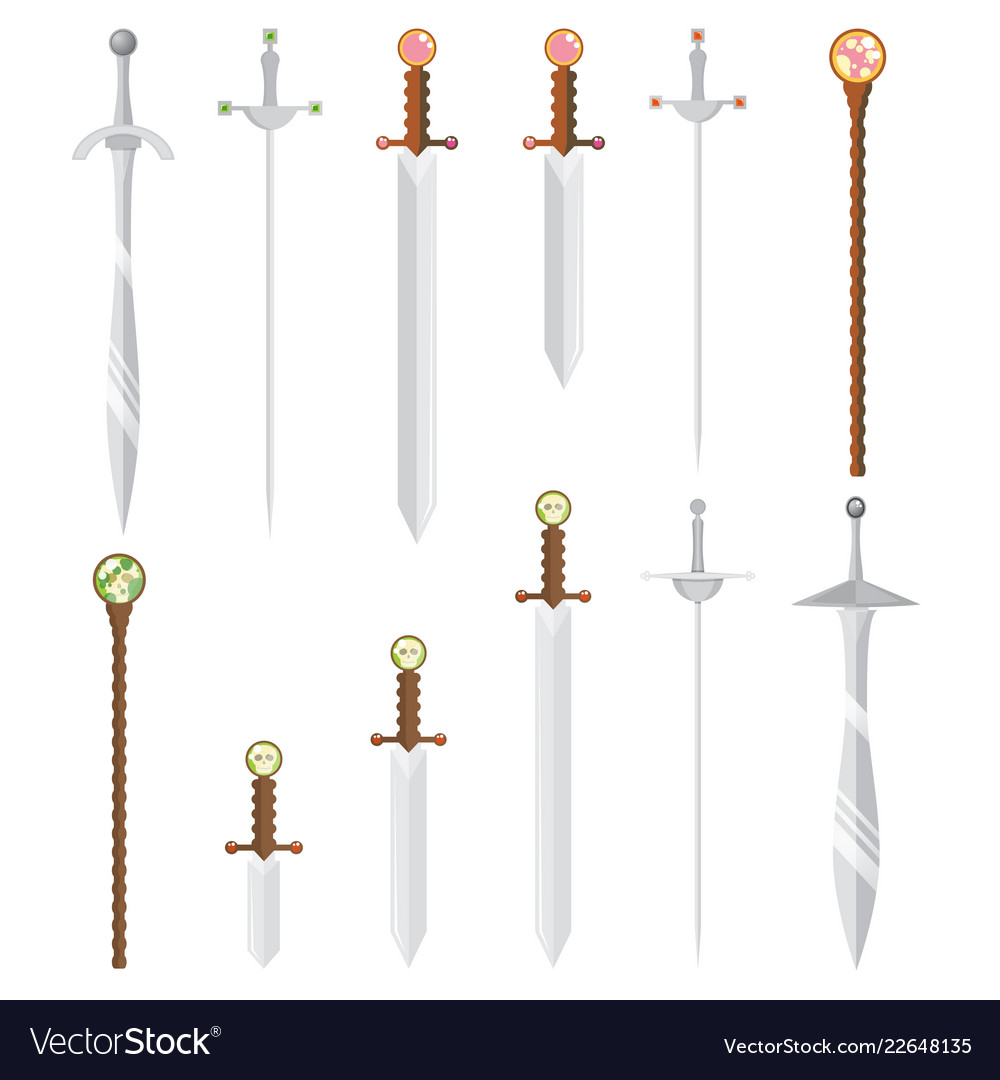 Set of cartoon style swords and magic wands with