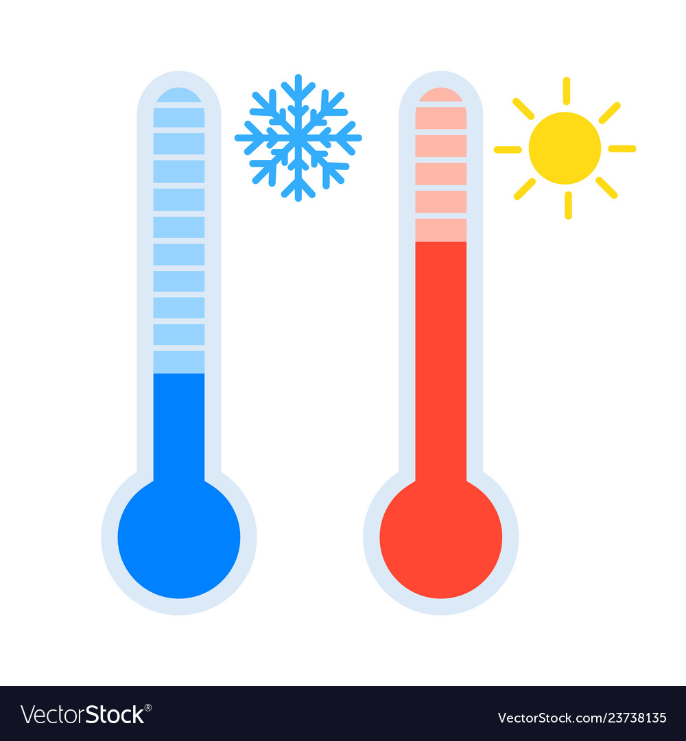 Thermometer icon set measuring heat and cold