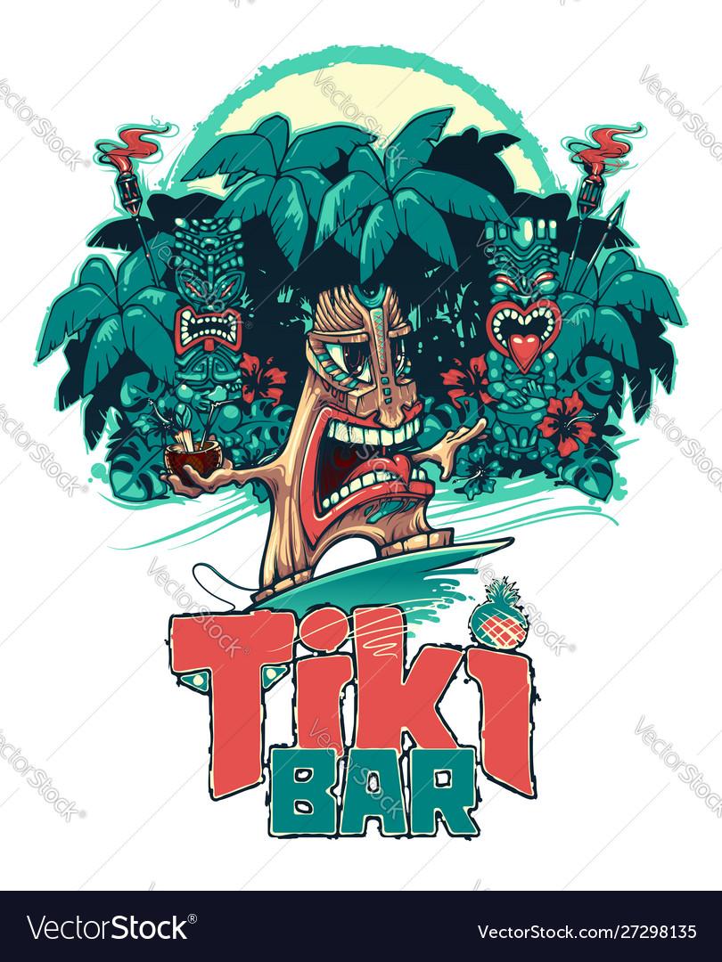 Tiki surfer and tiki play ukulele and drum