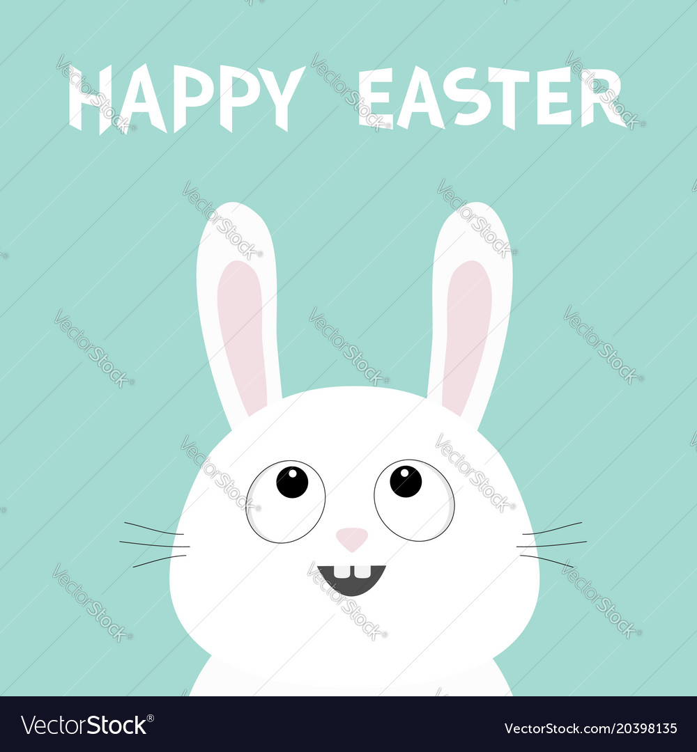 White bunny rabbit head face looking up happy vector image