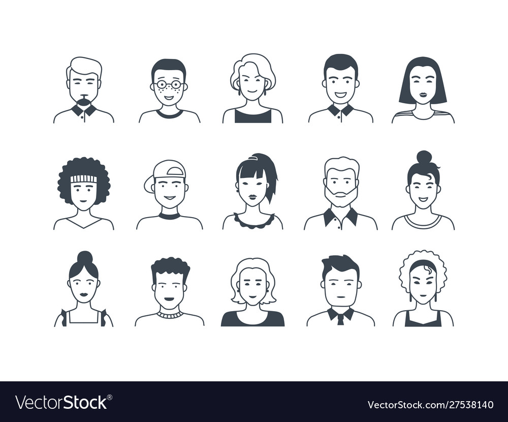 Avatar line icons male and female hand drawn