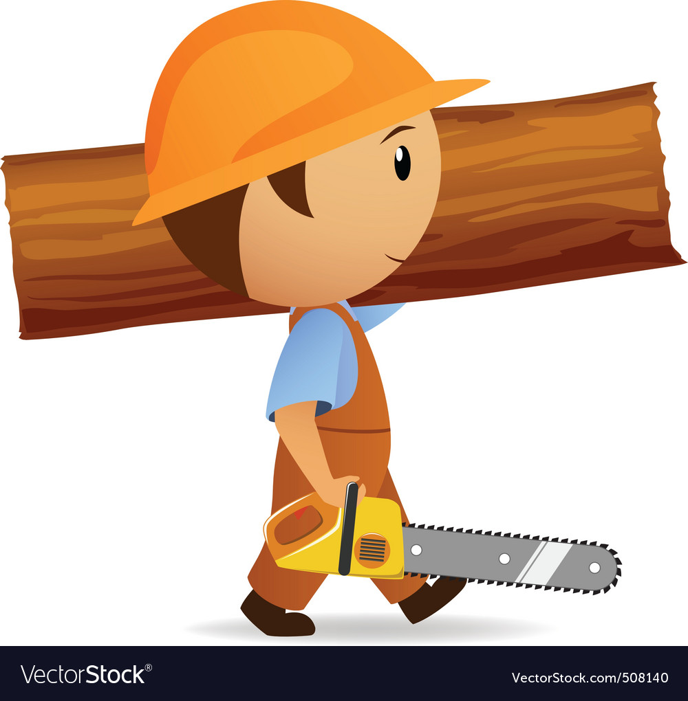 Cartoon woodcutter with chainsaw and trunk