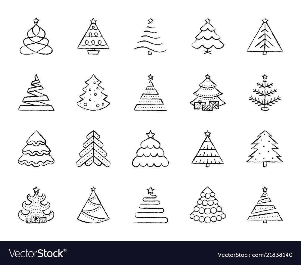 charcoal draw line icons set Vector Image
