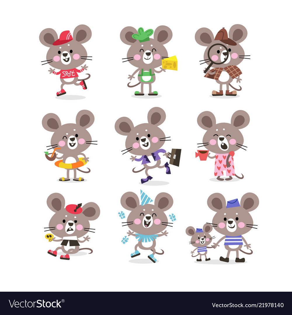 Cute mouse set on vacation running for business