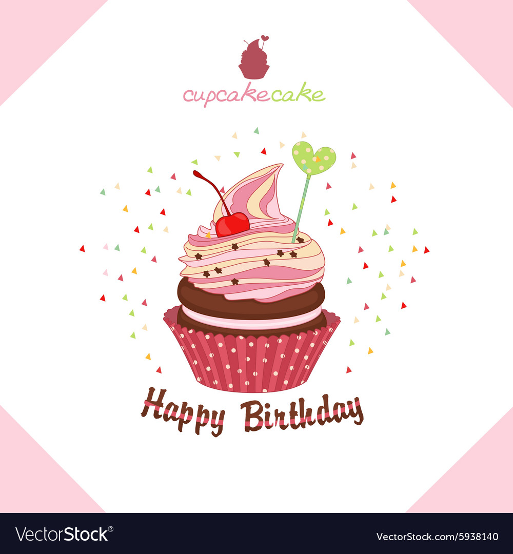 Greeting happy birthday cake a cupcake royalty free vector greeting happy birthday cake a cupcake vector image m4hsunfo